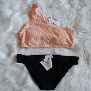 Orange One Shoulder Scalloped Bikini Set Sz XL